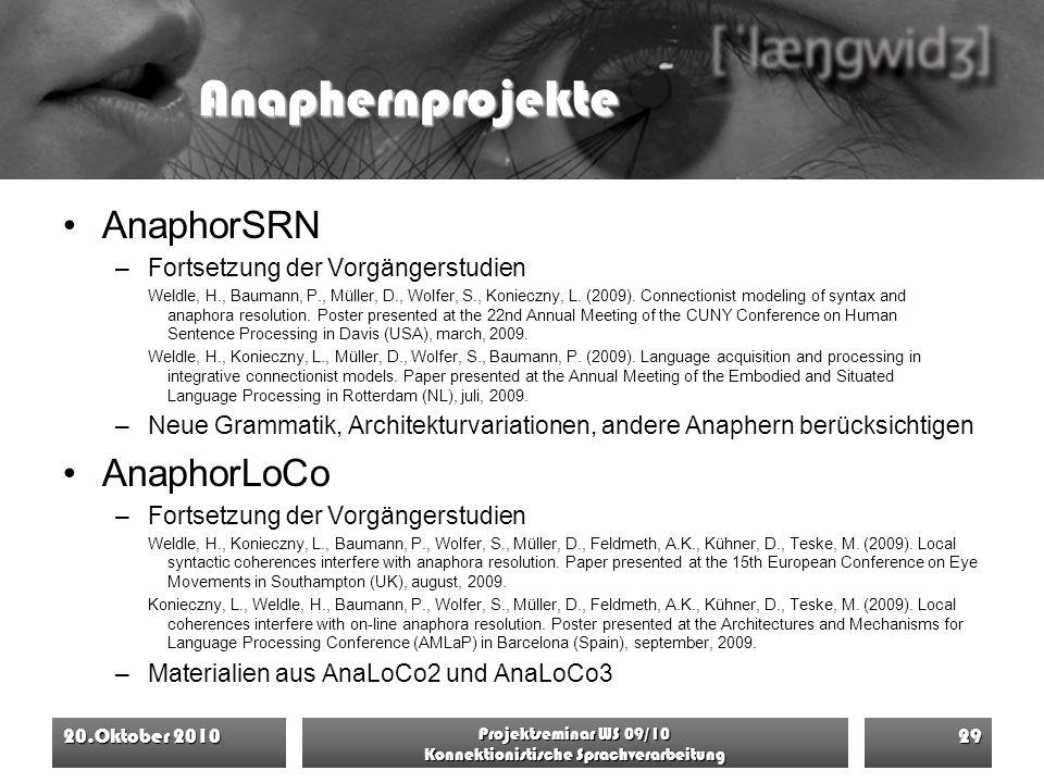 Anaphernprojekte AnaphorSRN –Fortsetzung der Vorgängerstudien Weldle, H., Baumann, P., Müller, D., Wolfer, S., Konieczny, L. (2009). Connectionist mod