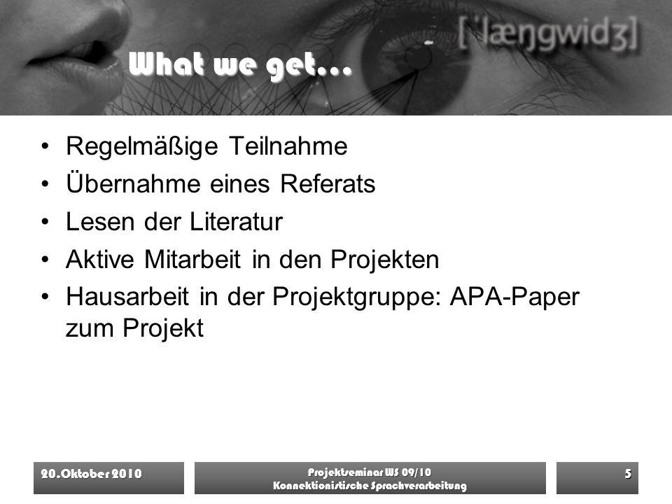 What we get… Regelmäßige Teilnahme Übernahme eines Referats Lesen der Literatur Aktive Mitarbeit in den Projekten Hausarbeit in der Projektgruppe: APA