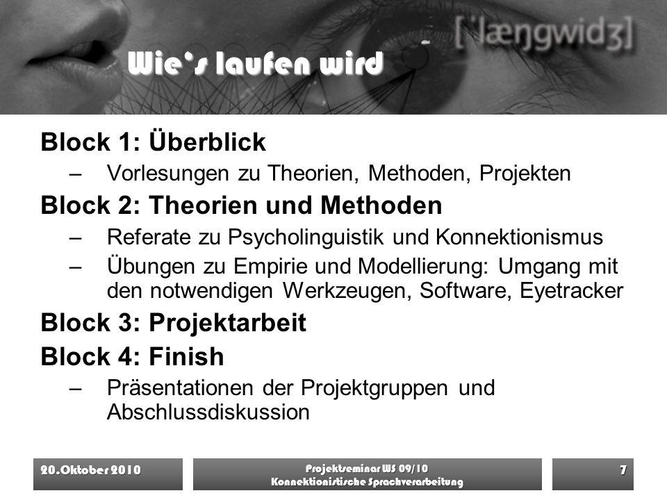 Wie's laufen wird Block 1: Überblick –Vorlesungen zu Theorien, Methoden, Projekten Block 2: Theorien und Methoden –Referate zu Psycholinguistik und Ko