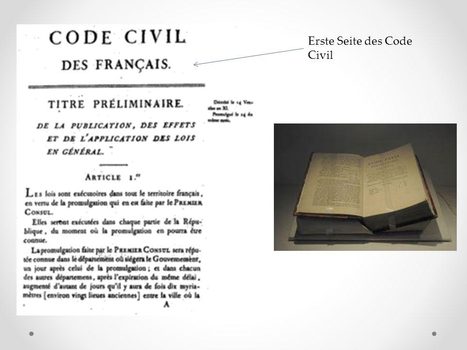 Erste Seite des Code Civil