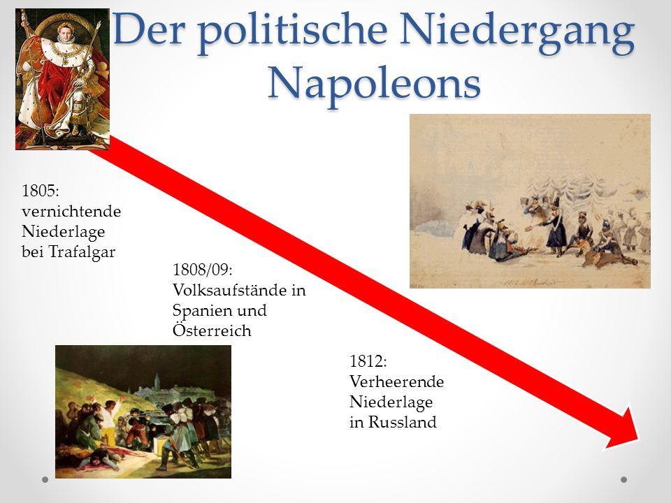 Der politische Niedergang Napoleons 1805: vernichtende Niederlage bei Trafalgar 1808/09: Volksaufstände in Spanien und Österreich 1812: Verheerende Niederlage in Russland