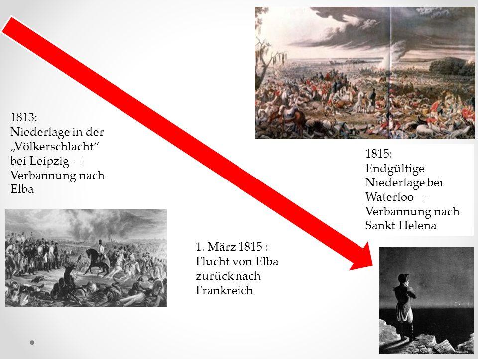 """1813: Niederlage in der """"Völkerschlacht bei Leipzig  Verbannung nach Elba 1."""