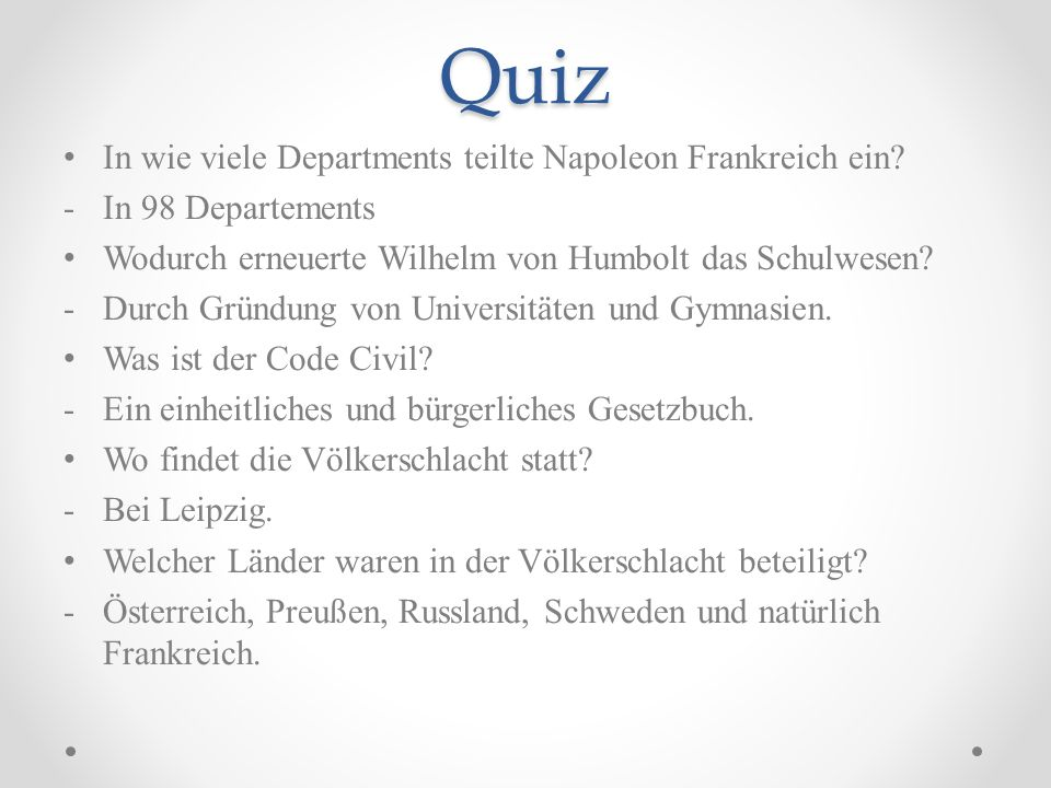 Quiz In wie viele Departments teilte Napoleon Frankreich ein.