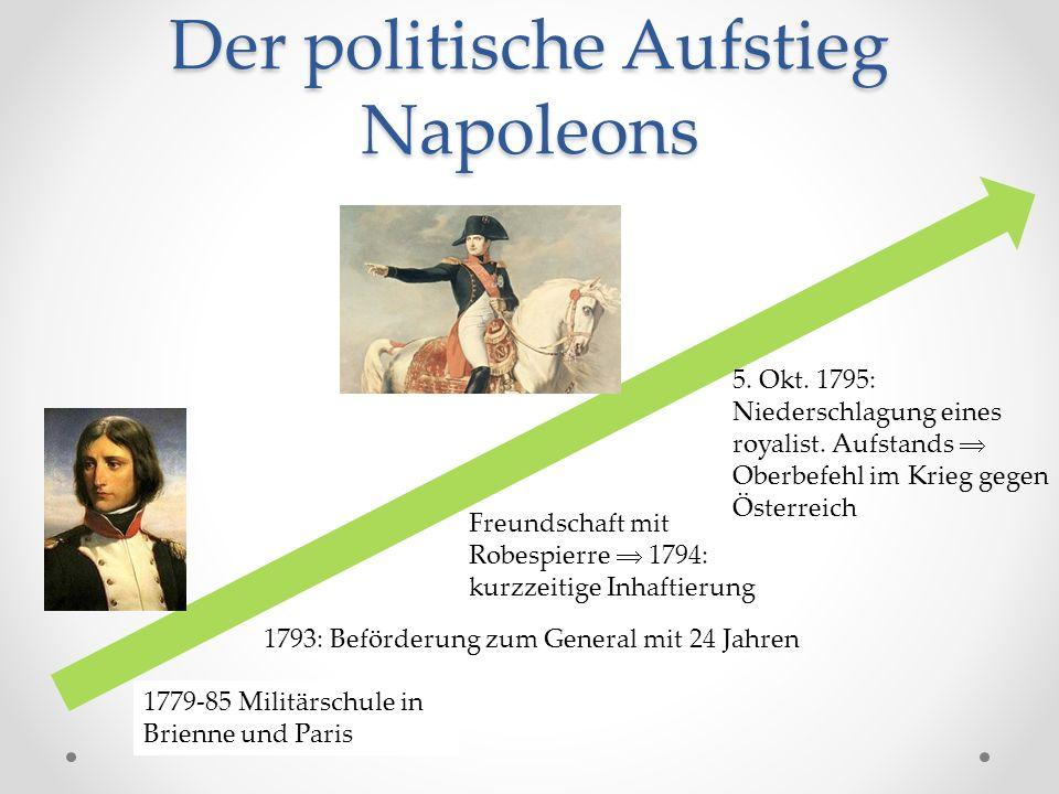Der politische Aufstieg Napoleons 1793: Beförderung zum General mit 24 Jahren Freundschaft mit Robespierre  1794: kurzzeitige Inhaftierung 5.