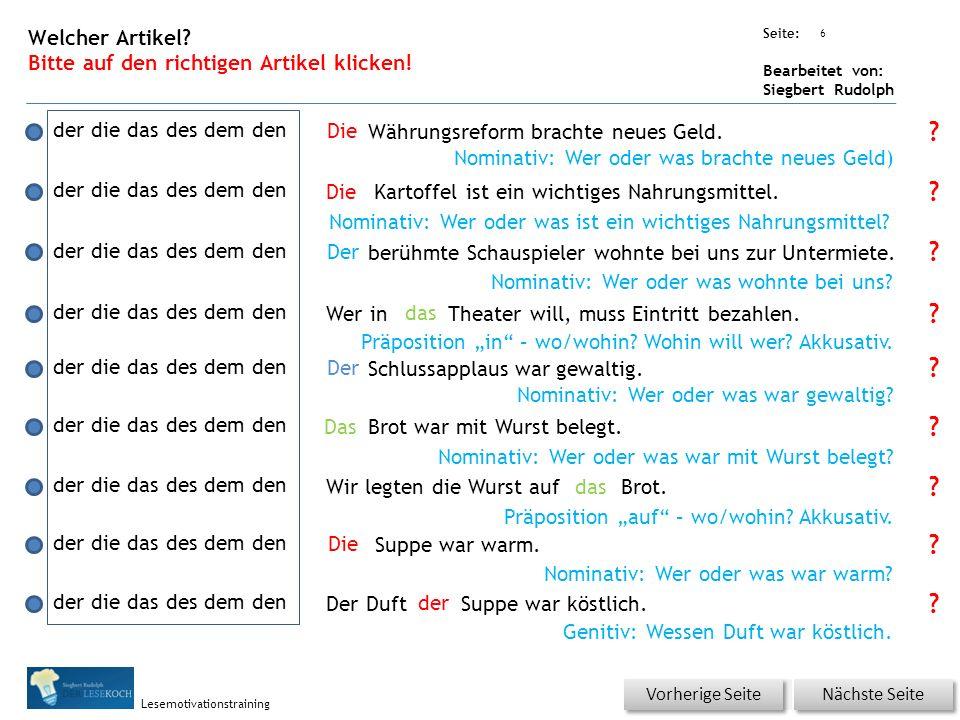 Übungsart: Seite: Bearbeitet von: Siegbert Rudolph Lesemotivationstraining 6 Welcher Artikel.