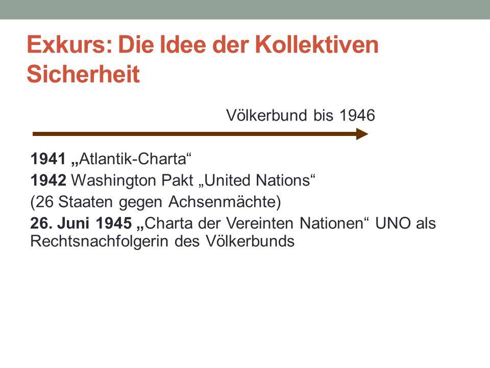 """Exkurs: Die Idee der Kollektiven Sicherheit Völkerbund bis 1946 1941 """"Atlantik-Charta"""" 1942 Washington Pakt """"United Nations"""" (26 Staaten gegen Achsenm"""