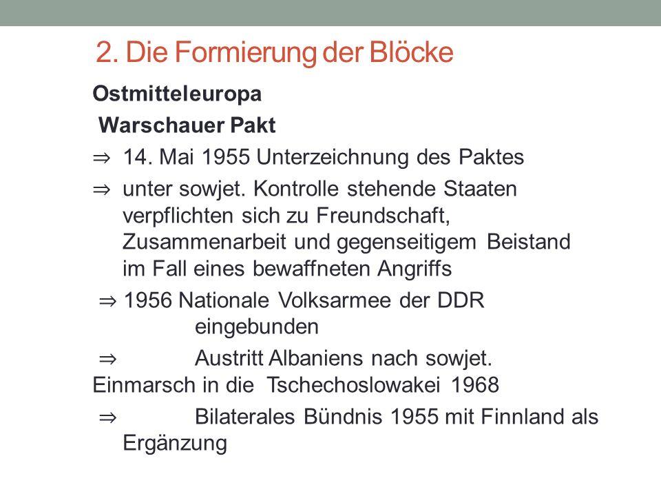 2. Die Formierung der Blöcke Ostmitteleuropa Warschauer Pakt ⇒ 14. Mai 1955 Unterzeichnung des Paktes ⇒ unter sowjet. Kontrolle stehende Staaten verpf