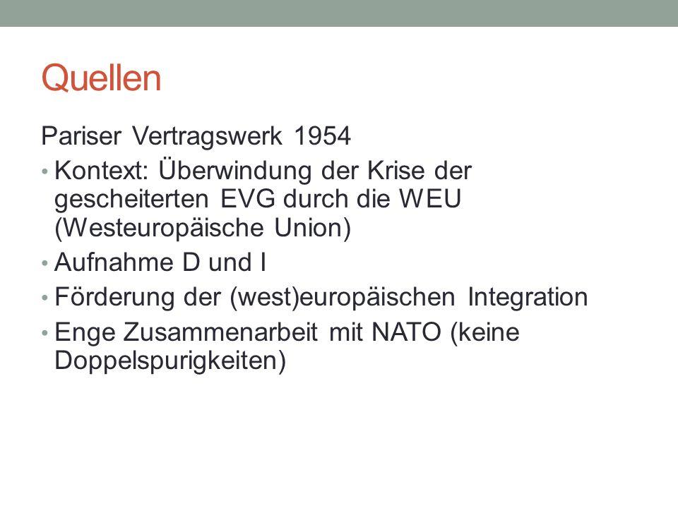 Quellen Pariser Vertragswerk 1954 Kontext: Überwindung der Krise der gescheiterten EVG durch die WEU (Westeuropäische Union) Aufnahme D und I Förderun
