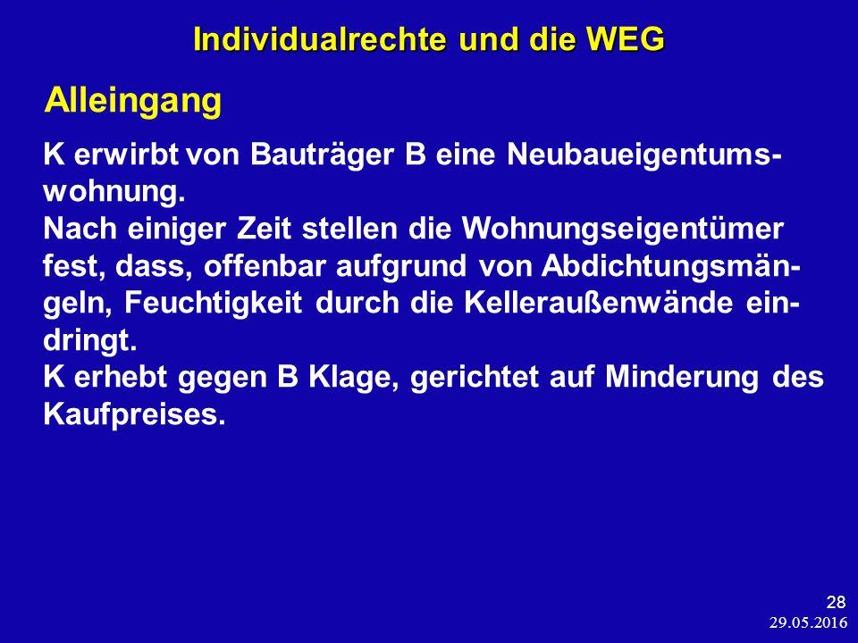 29.05.2016 28 Individualrechte und die WEG Alleingang K erwirbt von Bauträger B eine Neubaueigentums- wohnung.
