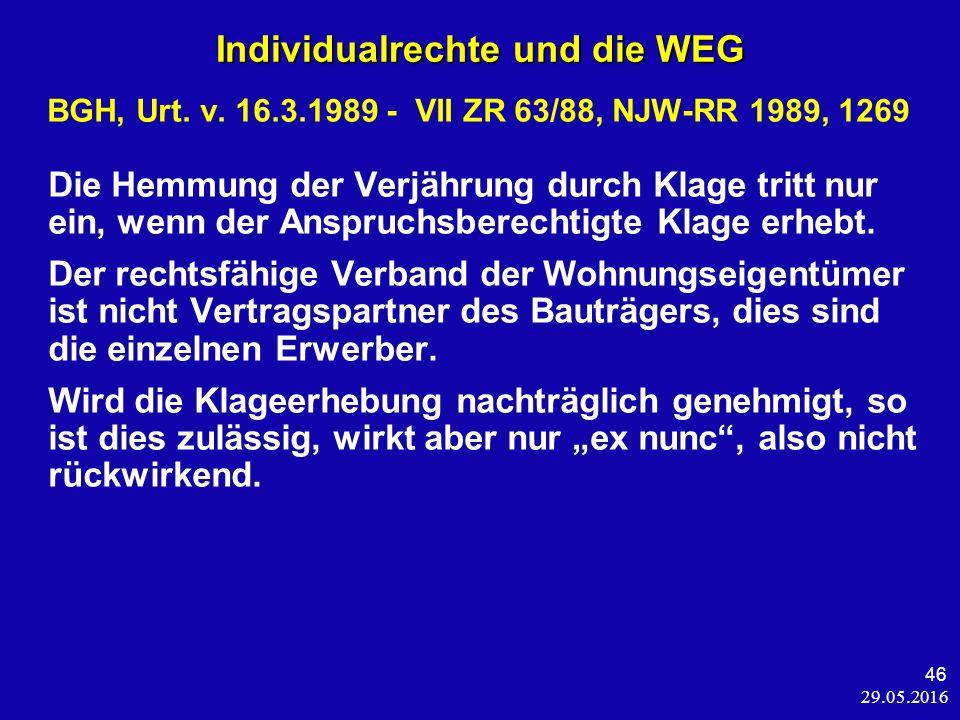 29.05.2016 46 Individualrechte und die WEG BGH, Urt.