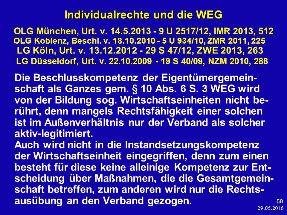 29.05.2016 50 Individualrechte und die WEG OLG München, Urt.