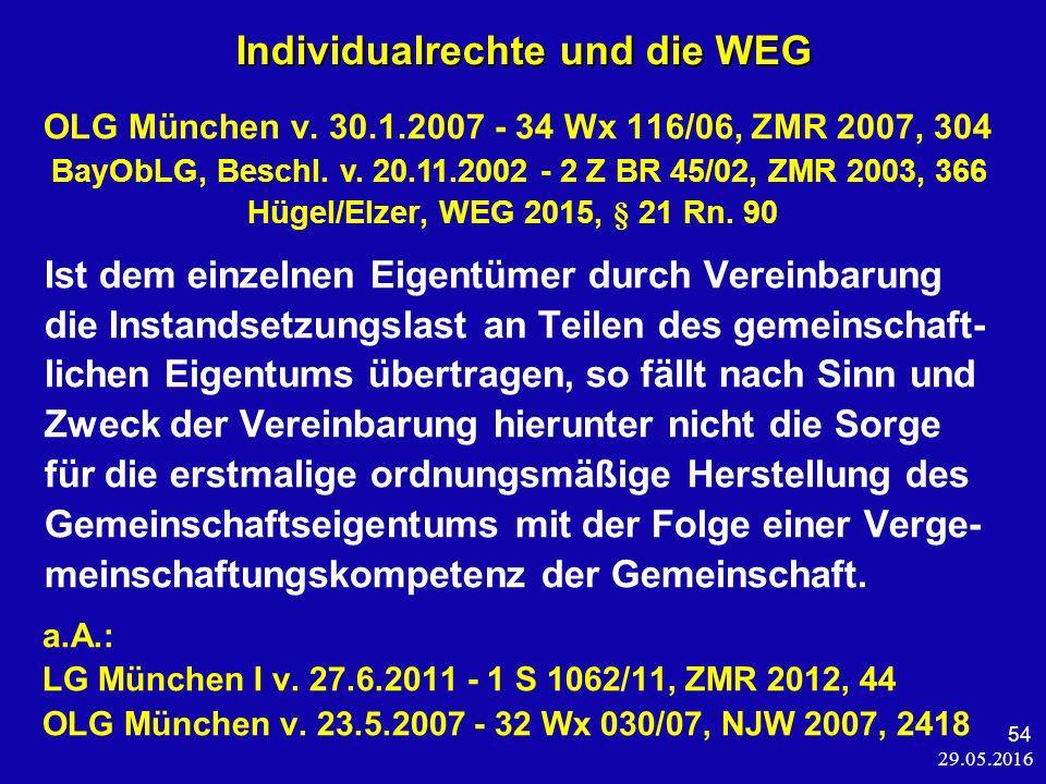 29.05.2016 54 Individualrechte und die WEG OLG München v.