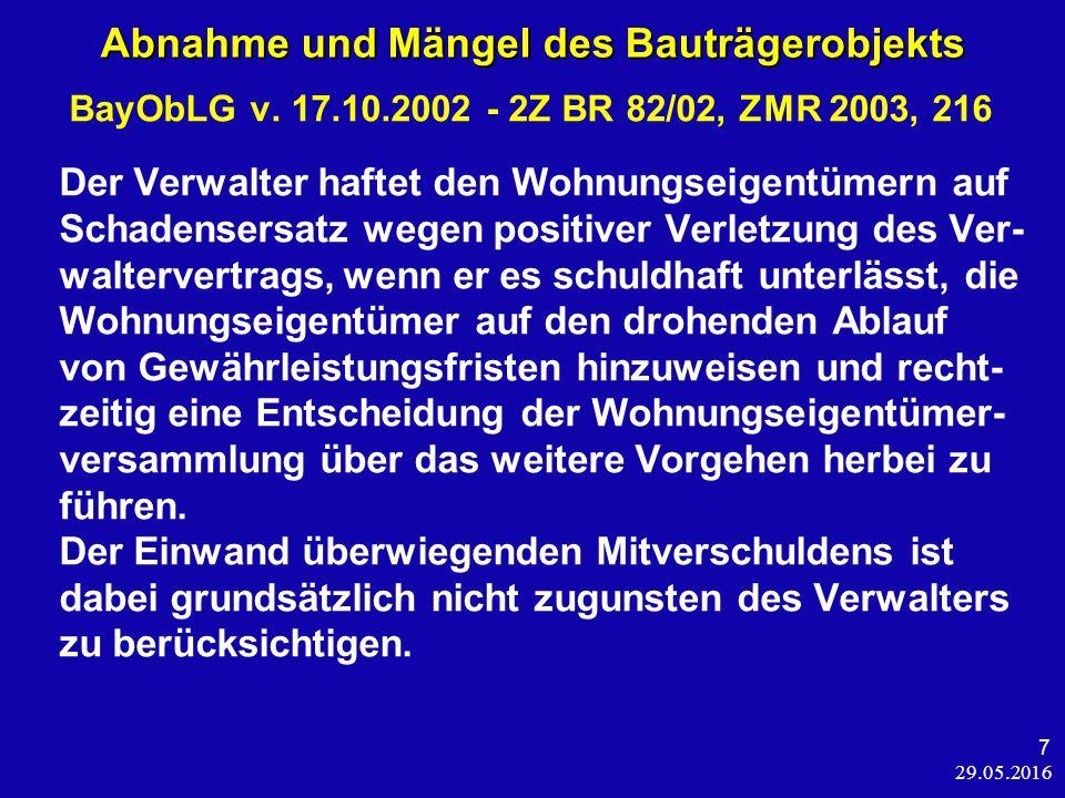 29.05.2016 48 Individualrechte und die WEG BGH, Urt.