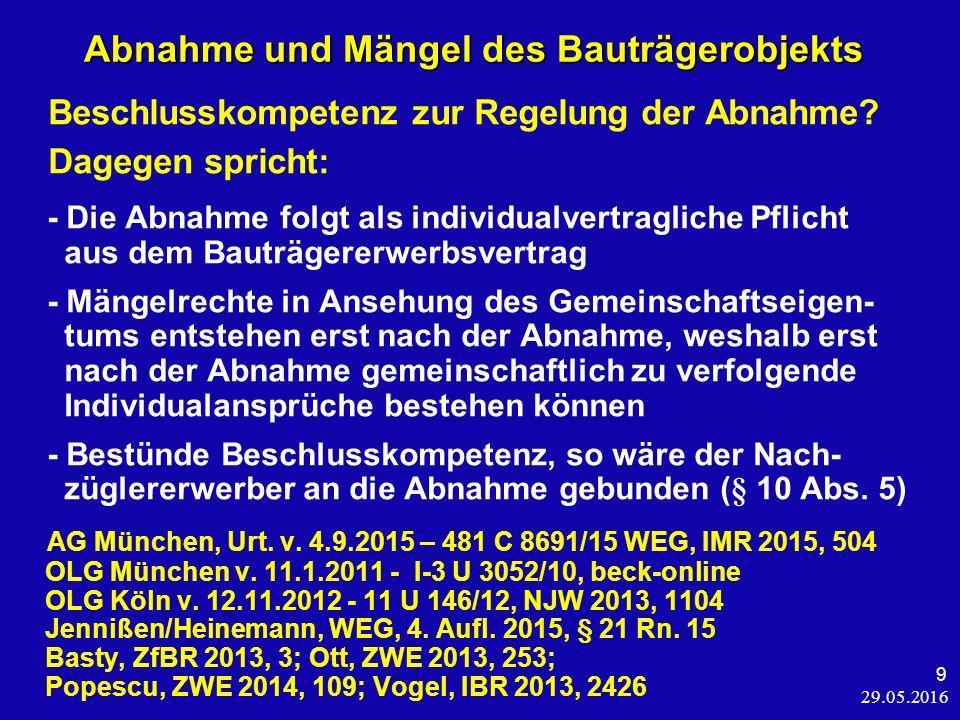 29.05.2016 20 Abnahme des Gemeinschaftseigentums OLG Bamberg v.
