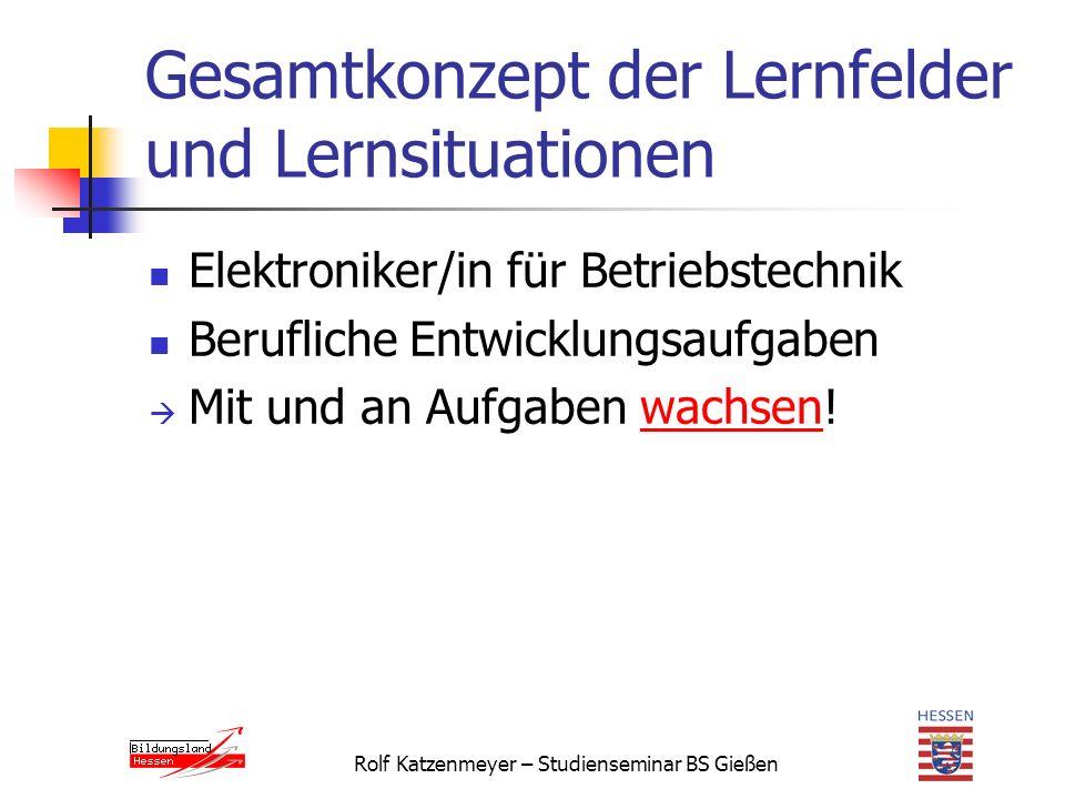 Rolf Katzenmeyer – Studienseminar BS Gießen Gesamtkonzept der Lernfelder und Lernsituationen Elektroniker/in für Betriebstechnik Berufliche Entwicklungsaufgaben  Mit und an Aufgaben wachsen!wachsen