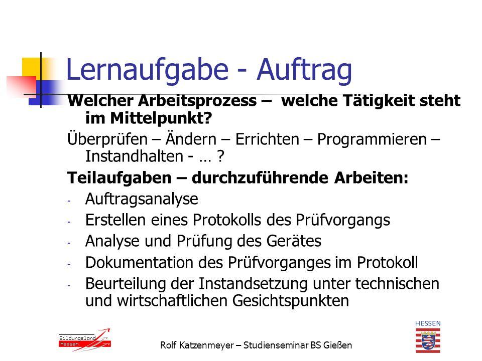 Rolf Katzenmeyer – Studienseminar BS Gießen Lernaufgabe - Auftrag Welcher Arbeitsprozess – welche Tätigkeit steht im Mittelpunkt.