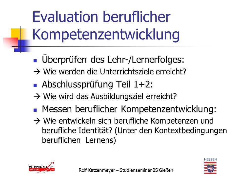 Evaluation beruflicher Kompetenzentwicklung Überprüfen des Lehr-/Lernerfolges:  Wie werden die Unterrichtsziele erreicht.