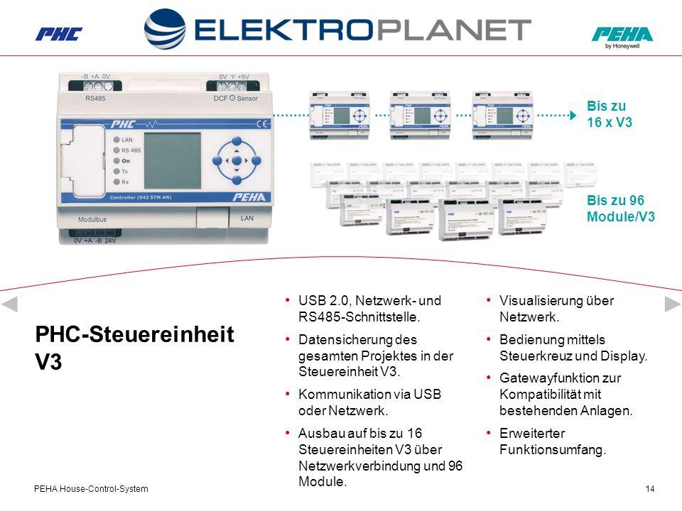 PEHA House-Control-System14 PHC-Steuereinheit V3 USB 2.0, Netzwerk- und RS485-Schnittstelle.