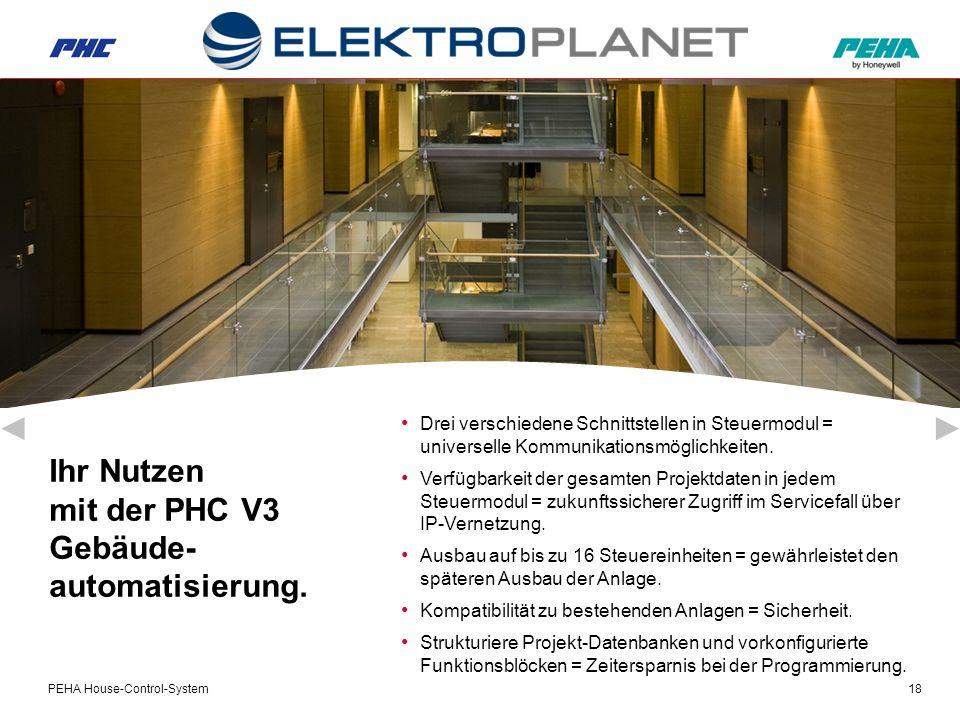 PEHA House-Control-System18 Ihr Nutzen mit der PHC V3 Gebäude- automatisierung.