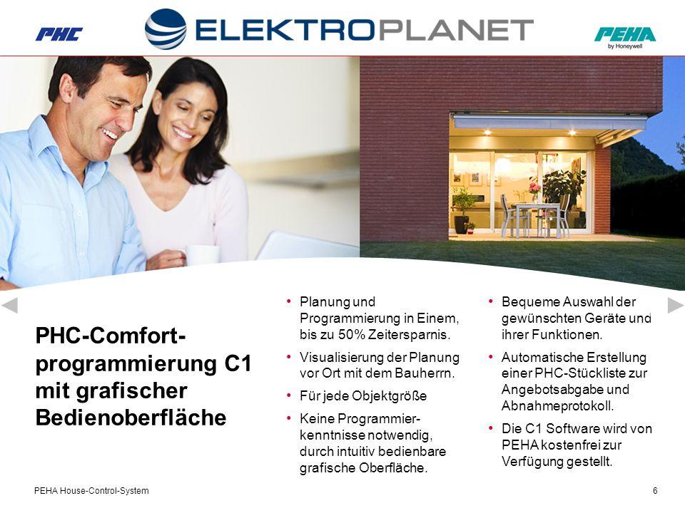 PEHA House-Control-System6 PHC-Comfort- programmierung C1 mit grafischer Bedienoberfläche Bequeme Auswahl der gewünschten Geräte und ihrer Funktionen.