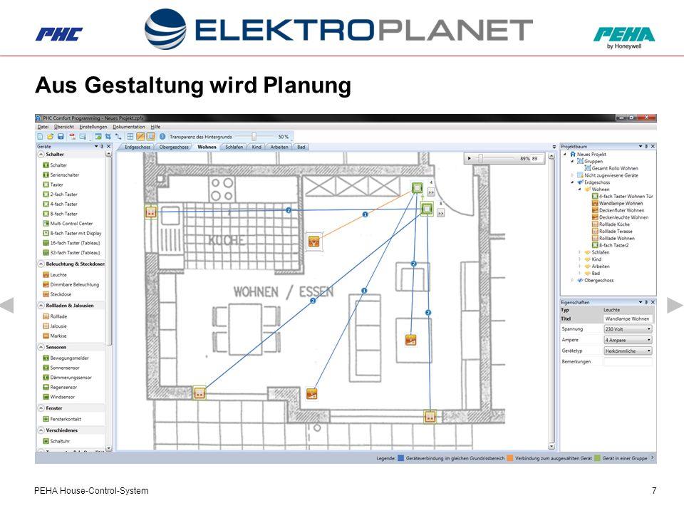 PEHA House-Control-System8 Schritt 1 Grundrissplan in die PHC C1 Software laden.