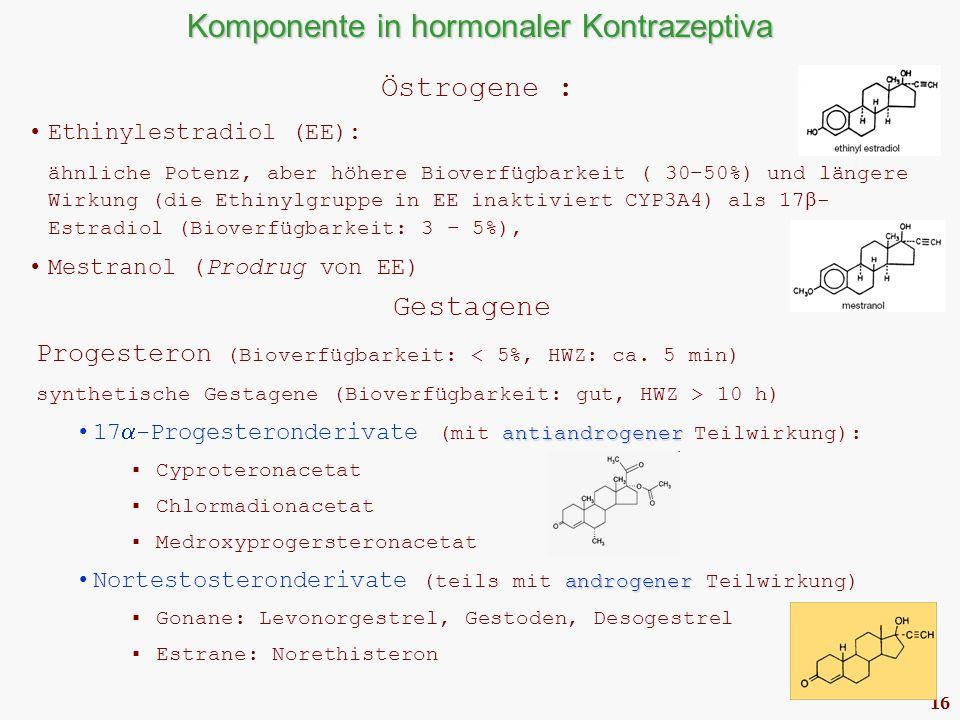 16 Komponente in hormonaler Kontrazeptiva Östrogene : Ethinylestradiol (EE): ähnliche Potenz, aber höhere Bioverfügbarkeit ( 30–50%) und längere Wirkung (die Ethinylgruppe in EE inaktiviert CYP3A4) als 17  - Estradiol (Bioverfügbarkeit: 3 – 5%), Mestranol (Prodrug von EE) Gestagene Progesteron (Bioverfügbarkeit: < 5%, HWZ: ca.