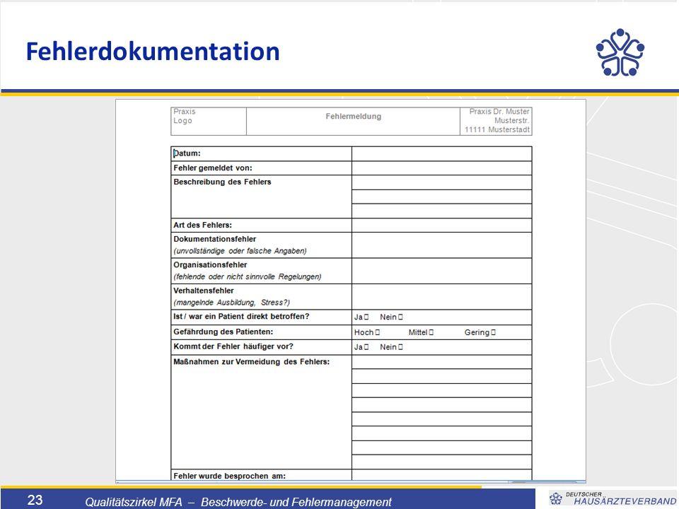 Titelmasterformat durch Klicken bearbeiten  Textmasterformate durch Klicken bearbeiten  Zweite Ebene  Dritte Ebene –Vierte Ebene »Fünfte Ebene 23 Qualitätszirkel MFA – Beschwerde- und Fehlermanagement Fehlerdokumentation