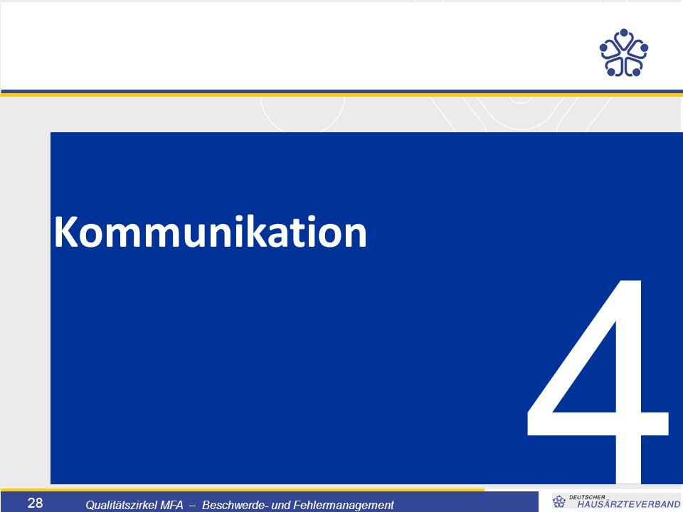Titelmasterformat durch Klicken bearbeiten  Textmasterformate durch Klicken bearbeiten  Zweite Ebene  Dritte Ebene –Vierte Ebene »Fünfte Ebene 28 Qualitätszirkel MFA – Beschwerde- und Fehlermanagement 4 Kommunikation
