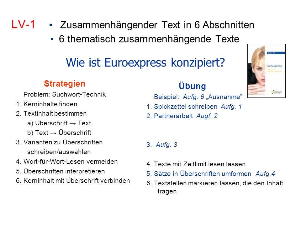 LV-1 Zusammenhängender Text in 6 Abschnitten 6 thematisch zusammenhängende Texte Strategien Problem: Suchwort-Technik 1.