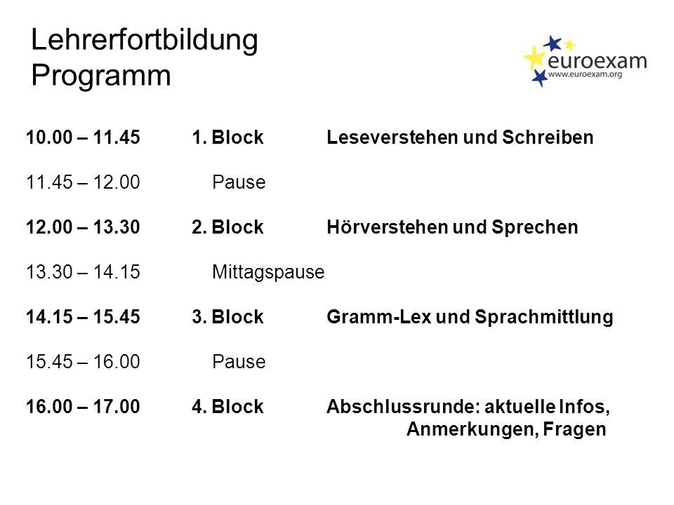 Lehrerfortbildung Programm 10.00 – 11.45 1.