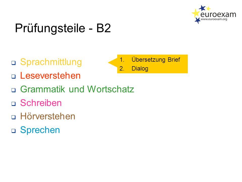 Prüfungsteile - B2  Sprachmittlung  Leseverstehen  Grammatik und Wortschatz  Schreiben  Hörverstehen  Sprechen 1.Übersetzung Brief 2.Dialog