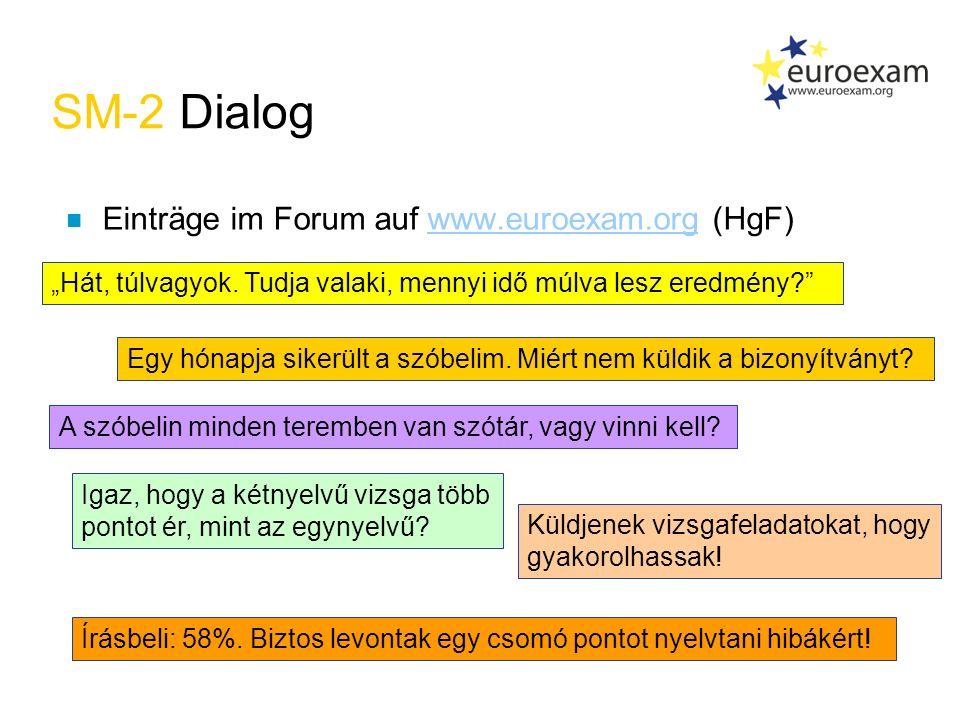 SM-2 Dialog n Einträge im Forum auf www.euroexam.org (HgF)www.euroexam.org Írásbeli: 58%.
