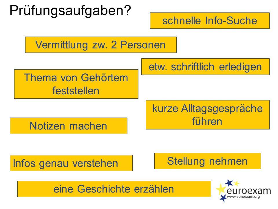 Prüfungsteile - B2  Sprachmittlung  Leseverstehen  Grammatik und Wortschatz  Schreiben  Hörverstehen  Sprechen 1.