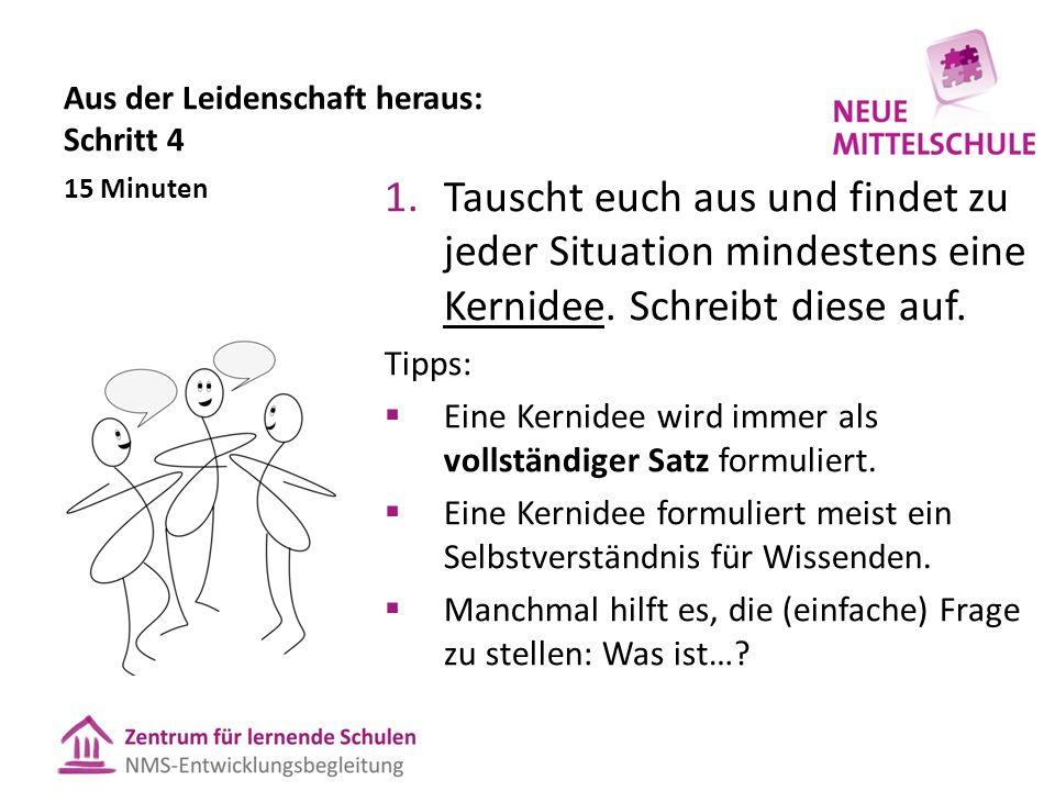 Aus der Leidenschaft heraus: Schritt 4 1.Tauscht euch aus und findet zu jeder Situation mindestens eine Kernidee.