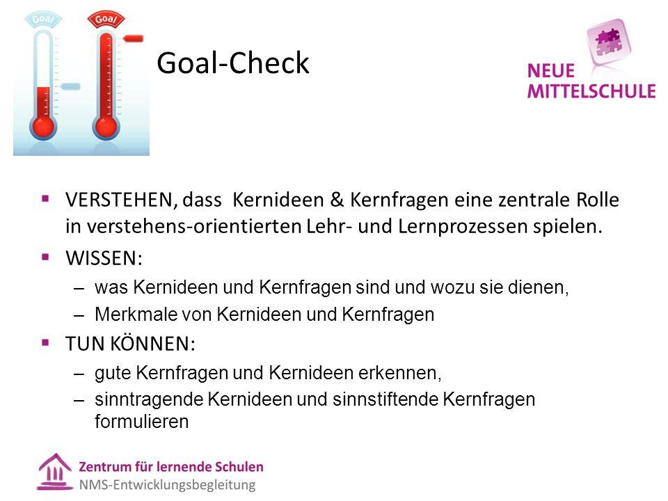 Goal-Check  VERSTEHEN, dass Kernideen & Kernfragen eine zentrale Rolle in verstehens-orientierten Lehr- und Lernprozessen spielen.