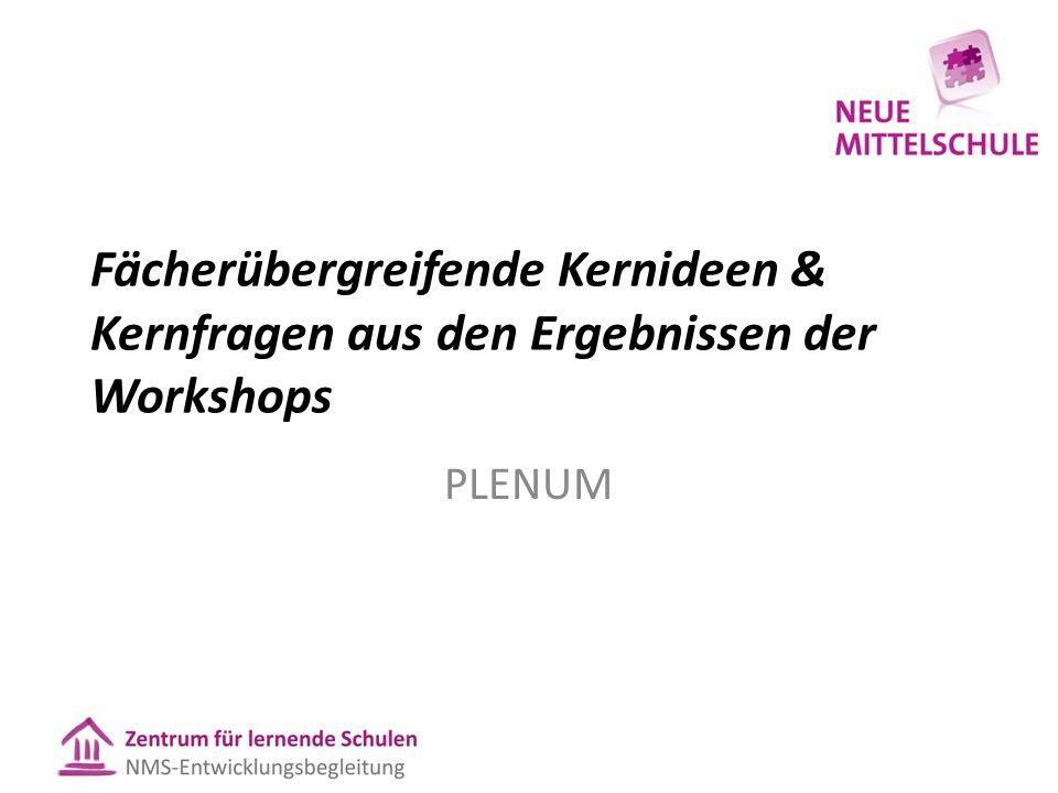 Fächerübergreifende Kernideen & Kernfragen aus den Ergebnissen der Workshops PLENUM