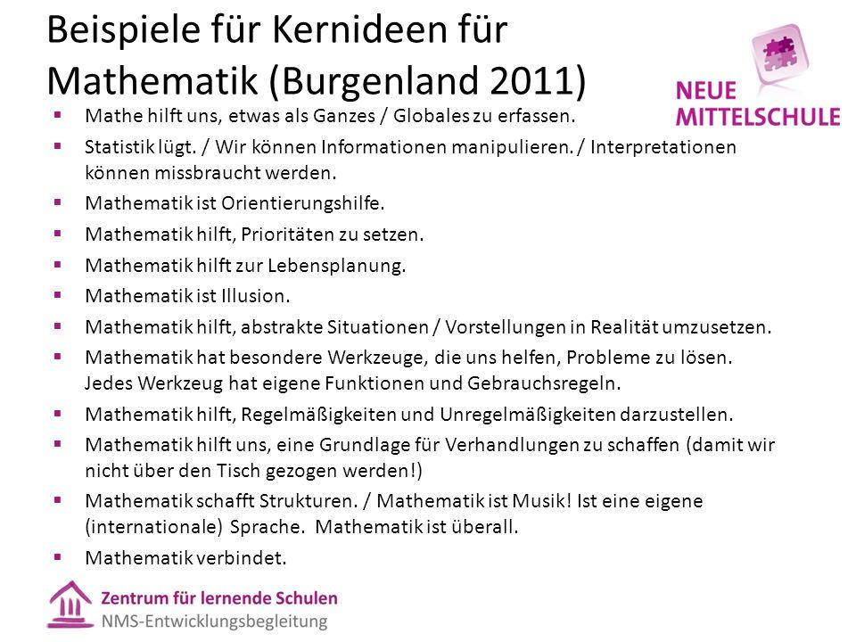 Beispiele für Kernideen für Mathematik (Burgenland 2011)  Mathe hilft uns, etwas als Ganzes / Globales zu erfassen.