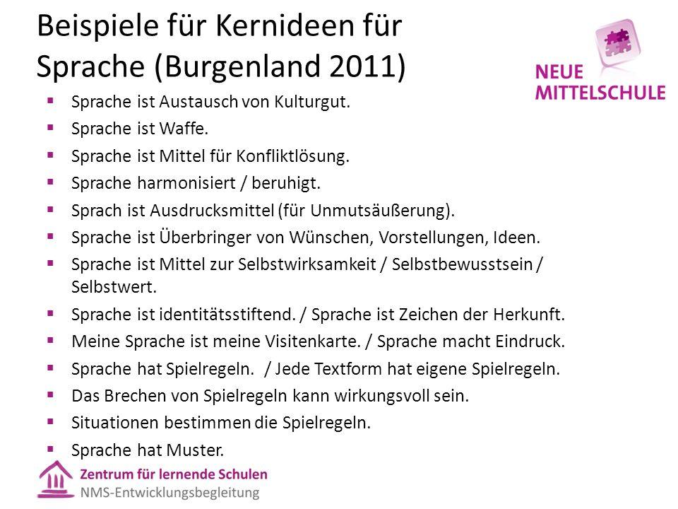 Beispiele für Kernideen für Sprache (Burgenland 2011)  Sprache ist Austausch von Kulturgut.