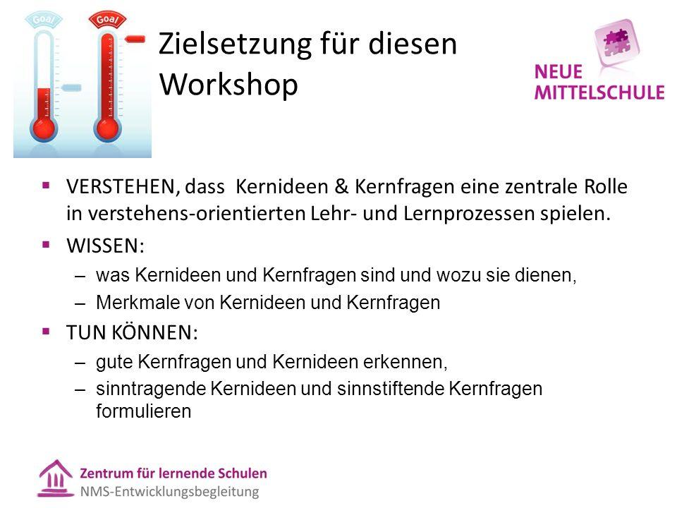 Zielsetzung für diesen Workshop  VERSTEHEN, dass Kernideen & Kernfragen eine zentrale Rolle in verstehens-orientierten Lehr- und Lernprozessen spielen.