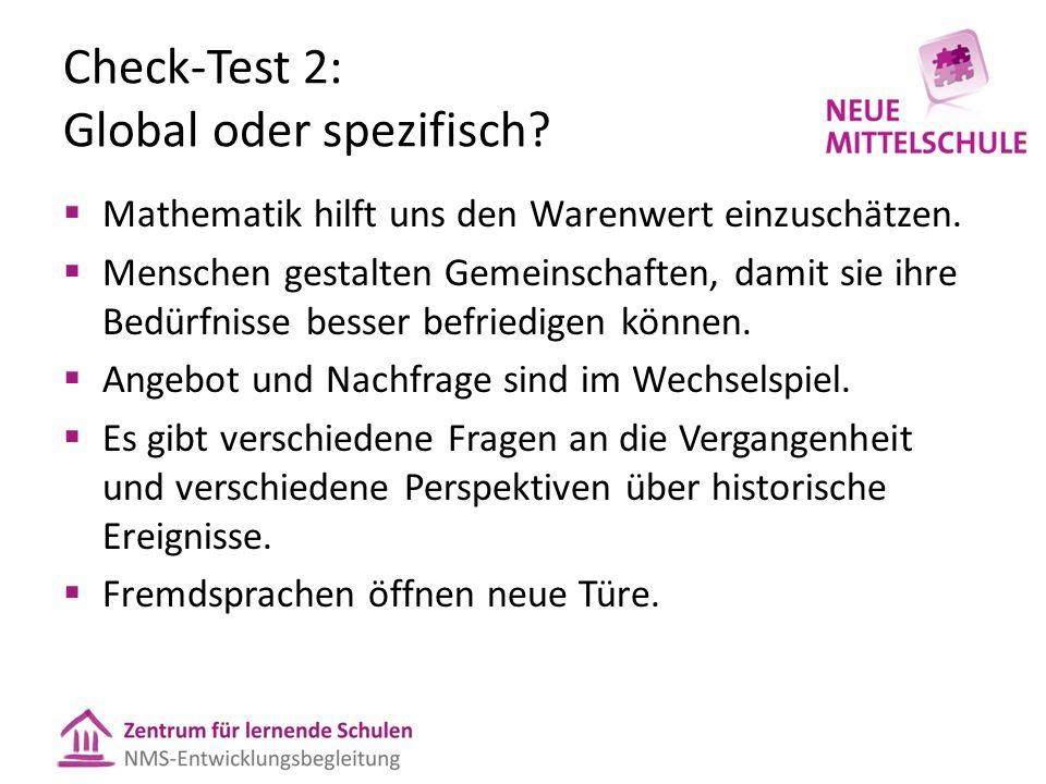 Check-Test 2: Global oder spezifisch.  Mathematik hilft uns den Warenwert einzuschätzen.