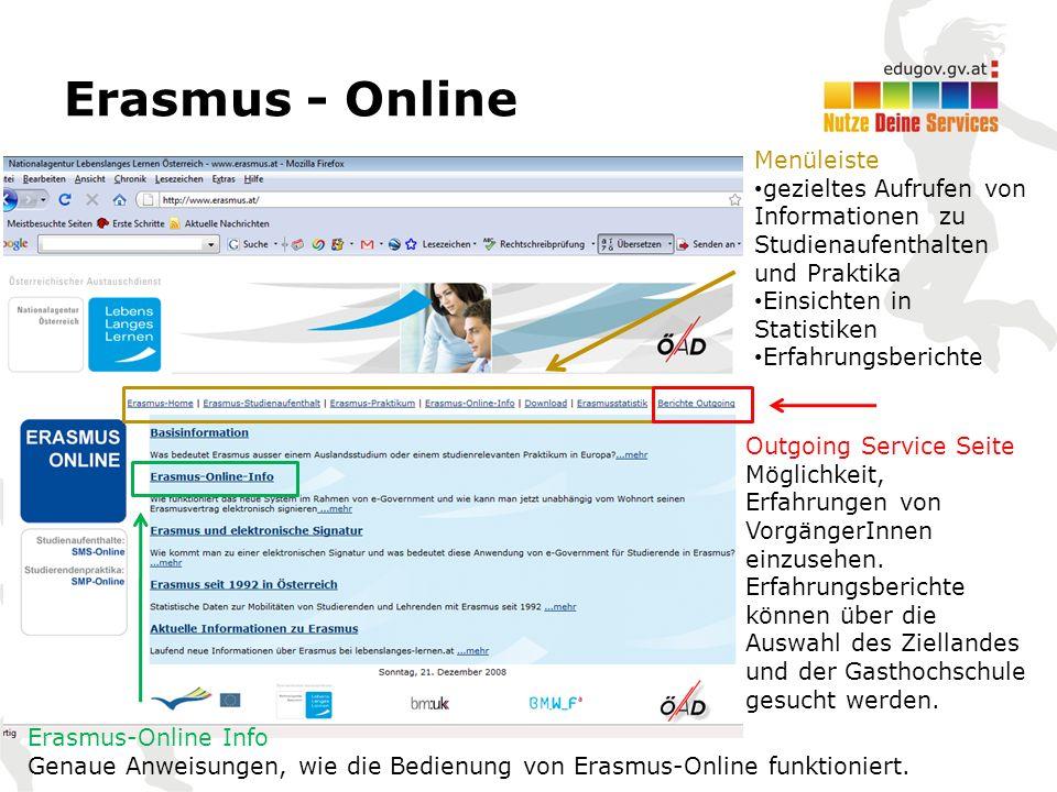 Erasmus - Online Menüleiste gezieltes Aufrufen von Informationen zu Studienaufenthalten und Praktika Einsichten in Statistiken Erfahrungsberichte Outgoing Service Seite Möglichkeit, Erfahrungen von VorgängerInnen einzusehen.