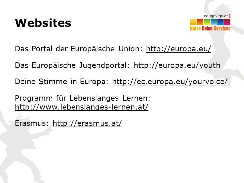 Websites Das Portal der Europäische Union: http://europa.eu/ Das Europäische Jugendportal: http://europa.eu/youth Deine Stimme in Europa: http://ec.europa.eu/yourvoice/ Programm für Lebenslanges Lernen: http://www.lebenslanges-lernen.at/ Erasmus: http://erasmus.at/