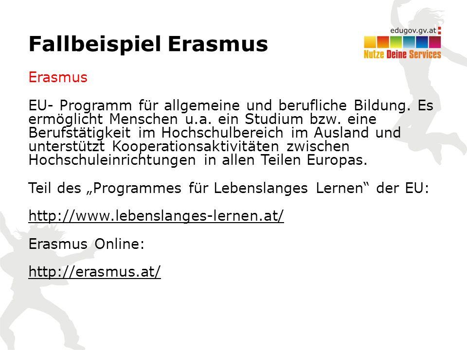 Fallbeispiel Erasmus Erasmus EU- Programm für allgemeine und berufliche Bildung.