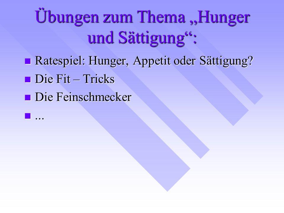 """Übungen zum Thema """"Hunger und Sättigung"""": Ratespiel: Hunger, Appetit oder Sättigung? Ratespiel: Hunger, Appetit oder Sättigung? Die Fit – Tricks Die F"""