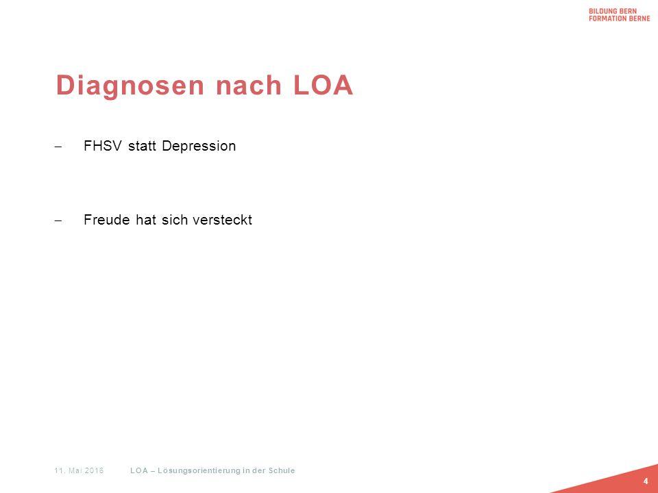 Diagnosen nach LOA  FHSV statt Depression  Freude hat sich versteckt 4 11. Mai 2016 LOA – Lösungsorientierung in der Schule