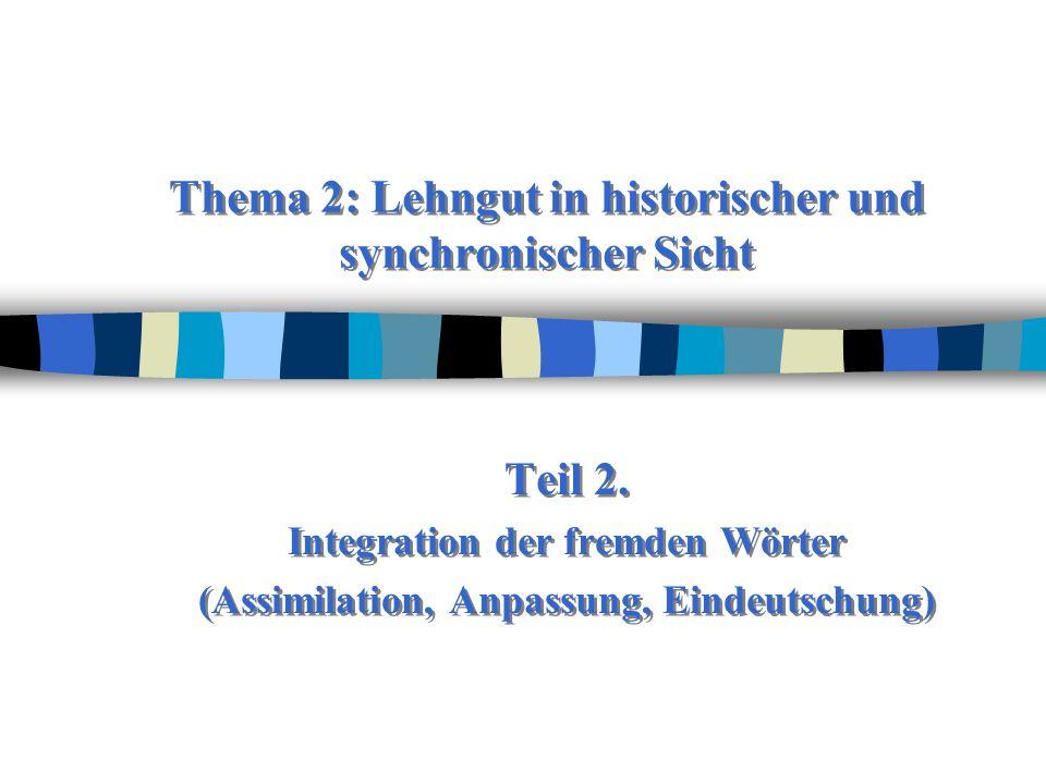 Thema 2: Lehngut in historischer und synchronischer Sicht Teil 2.