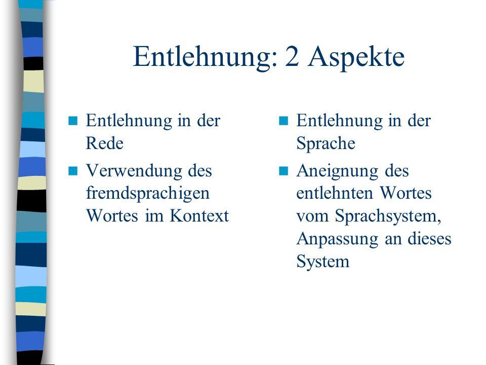 Entlehnung: 2 Aspekte Entlehnung in der Rede Verwendung des fremdsprachigen Wortes im Kontext Entlehnung in der Sprache Aneignung des entlehnten Wortes vom Sprachsystem, Anpassung an dieses System
