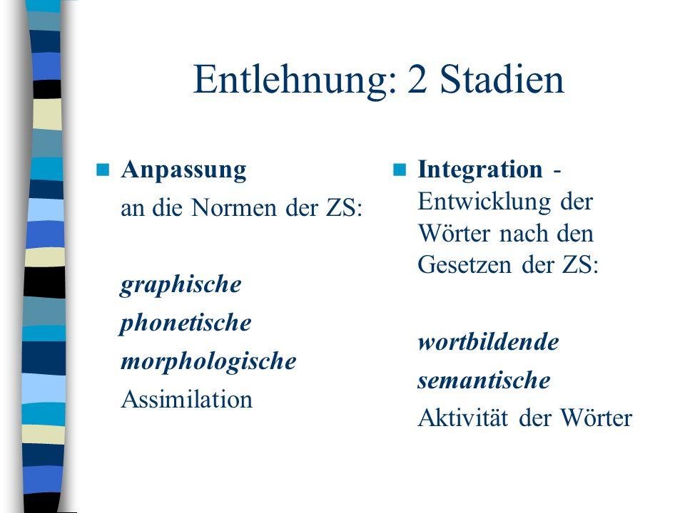 Entlehnung: 2 Stadien Anpassung an die Normen der ZS: graphische phonetische morphologische Assimilation Integration - Entwicklung der Wörter nach den Gesetzen der ZS: wortbildende semantische Aktivität der Wörter
