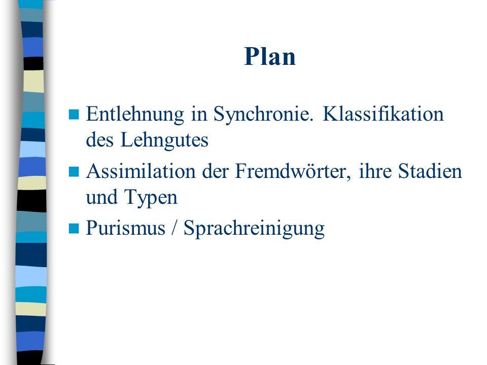 Plan Entlehnung in Synchronie.