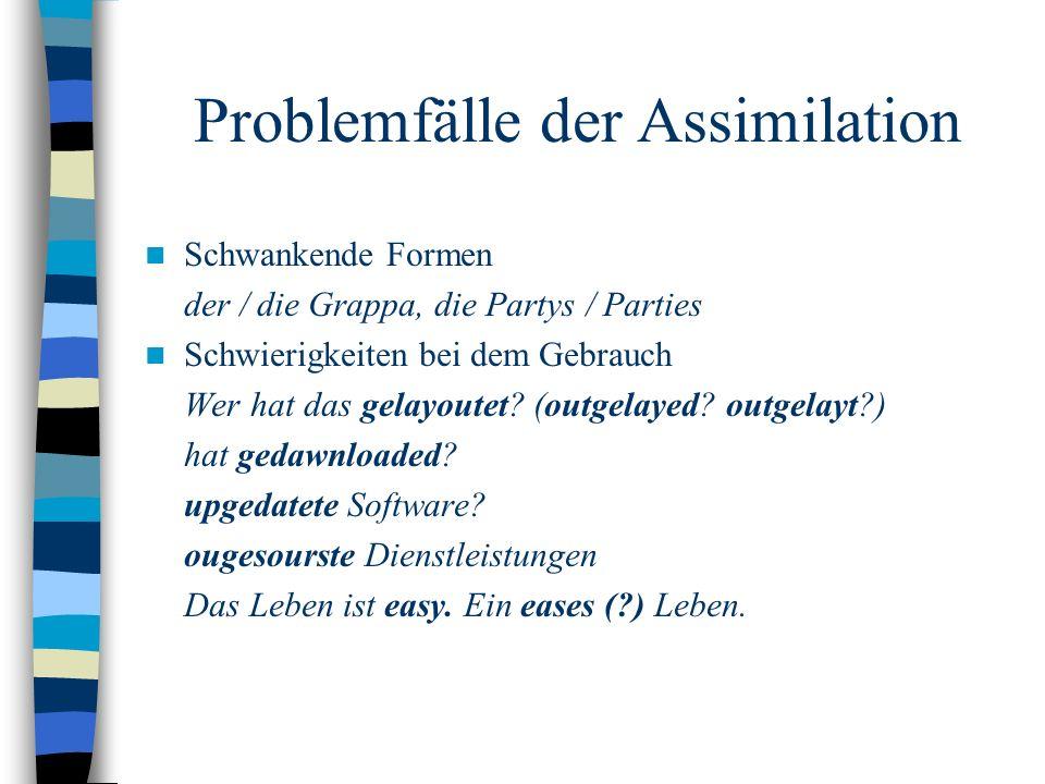 Problemfälle der Assimilation Schwankende Formen der / die Grappa, die Partys / Parties Schwierigkeiten bei dem Gebrauch Wer hat das gelayoutet.
